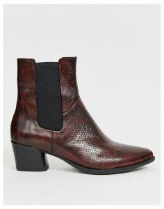 Vagabond Lara oxblood snake print mid heeled ankle boots-Brown