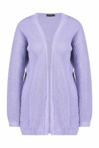 Womens Edge To Edge Waffle Knit Cardigan - purple - M, Purple