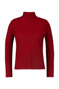 Womens Plus Rib roll/polo neck jumper - red - 18, Red