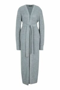 Womens Maxi Belted Knitted Cardigan - grey - S, Grey