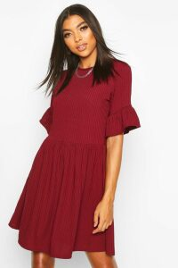 Womens Tall Ribbed Frill Sleeve Smock Dress - Red - 10, Red
