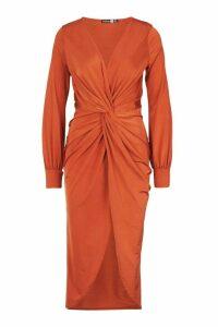 Womens Twist Front Plunge Slinky Midi Dress - orange - 14, Orange