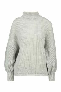 Womens Roll Neck Balloon Sleeve Knitted Jumper - grey - M, Grey