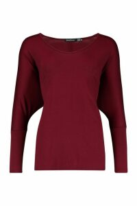 Womens Basic Long Sleeve Oversized T-Shirt - red - 10, Red