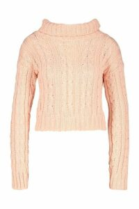 Womens Marl Cable Knit Chunky Crop Jumper - pink - M/L, Pink