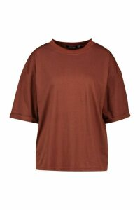 Womens Tall Turn Up Boxy T-Shirt - Brown - 16, Brown