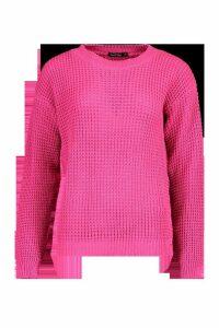 Womens Oversized Vintage Jumper - Pink - S, Pink