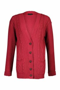 Womens Cable Boyfriend Button Up Cardigan - pink - S/M, Pink