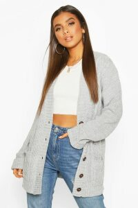 Womens Cable Boyfriend Button Up Cardigan - grey - M/L, Grey