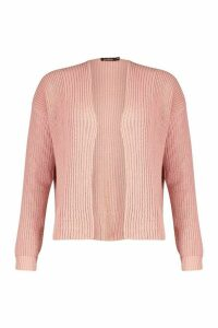 Womens Oversized Rib Cropped Cardigan - Pink - M/L, Pink