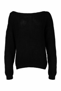 Womens Tall Slash Neck Jumper - black - L, Black