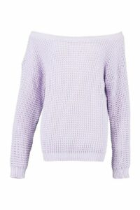 Womens Tall Slash Neck Jumper - purple - S, Purple