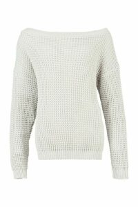 Womens Tall Slash Neck Jumper - grey - M, Grey