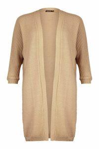 Womens Cocoon Oversized Rib Knit Cardigan - beige - M/L, Beige