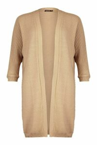 Womens Cocoon Oversized Rib Knit Cardigan - beige - S/M, Beige