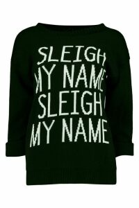 Womens Sleigh My Name Slogan Christmas Jumper - black - S/M, Black