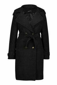 Womens Tall Military Double Breasted Wool Look Coat - black - 12, Black
