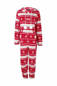 Womens Fairisle Pom Pom Hooded Onesie - red - M, Red