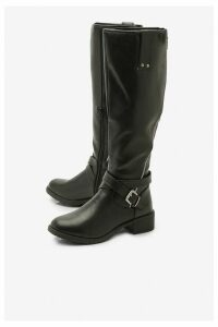 Womens Zip Detail Flat Knee High Riding Boots - black - 7, Black