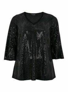 Black Sparkle Frill Sleeve Top, Black