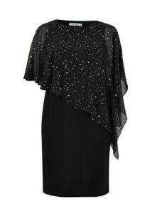 Black Sparkle Overlay Dress, Black