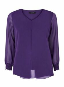 Purple Long Sleeve Split Front Top, Purple