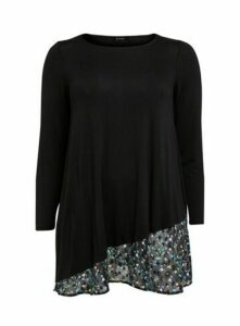Black Floral Asymmetric Hem Top, Black