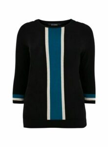 Teal Blue Stripe Jumper, Black