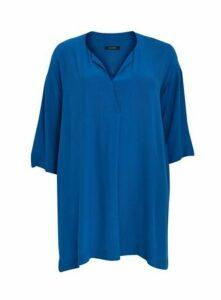 Boutique Blue Plain V-Neck Tunic, Mid Blue