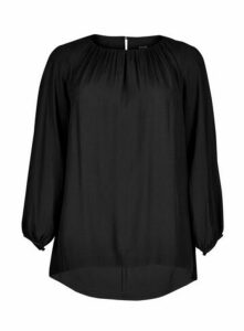 Boutique Black Long Sleeve Ruche Detail Top, Black