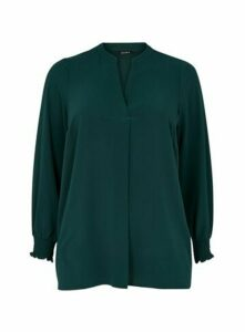 Green Shirred Cuff Top, Dark Green