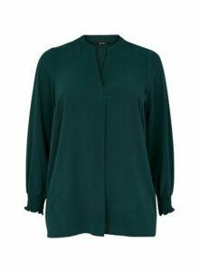 Green Shirred Cuff Top, Dark Green