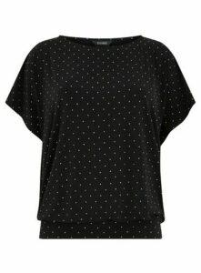 Black Sparkle Bubble Top, Black