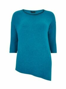 Turquoise Asymmetric Zip Detail Soft Touch Top, Blue