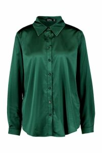 Womens Satin Oversized Shirt - green - 14, Green