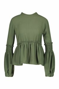 Womens Woven Shirred Balloon Sleeve Blouse - green - 10, Green