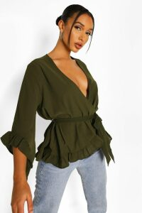 Womens Ruffle Hem Wrap Blouse - green - 12, Green