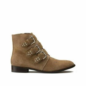 Wide Fit Suede Boots with Studded Straps
