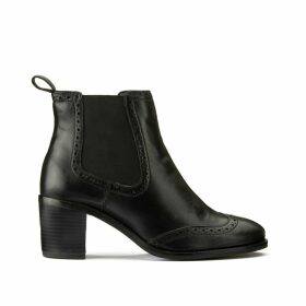 Wide Fit Leather Chelsea Boots with Block Heel