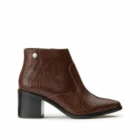 Ghiga Leather Cowboy Ankle Boots in Faux Snakeskin