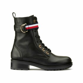 Corporate Ribbon Biker Leather Boots