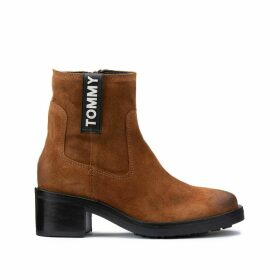 Pin Logo Leather Biker Boots