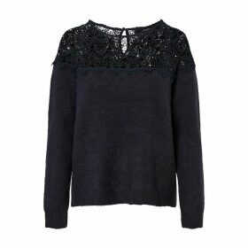 Fine Knit Crew-Neck Jumper with Lacy Top