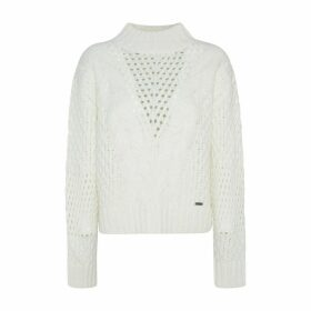 Chunky Openwork Knit Jumper with High-Neck