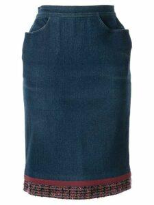 Chanel Pre-Owned tweed detail denim skirt - Blue