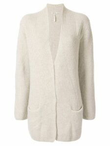 Hermès Pre-Owned cashmere ribbed open cardigan - Grey
