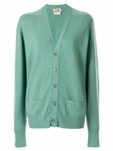 Hermès pre-owned cashmere ribbed open cardigan - Green