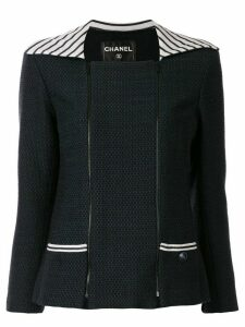 Chanel Pre-Owned striped panel jacket - Black