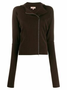 Romeo Gigli Pre-Owned 1990s off-centred zipped cardigan - Brown