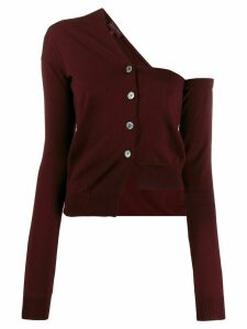 Romeo Gigli Pre-Owned 1990s single-shoulder buttoned cardigan - Red